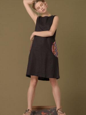 Váy đầm gile túi xoáy thổ cẩm Black 9