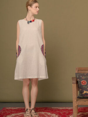 Váy đầm gile túi xoáy thổ cẩm White 7