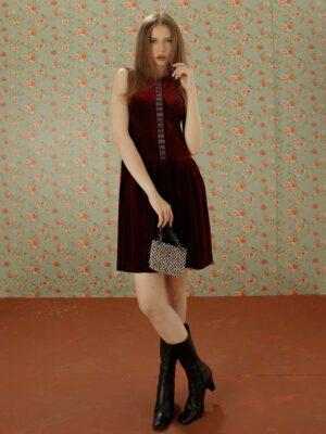 Váy đầm nhung gile dúm eo phối nẹp thổ cẩm Wine 1