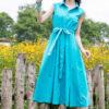 Váy đầm midi cổ sơ mi chun eo Turquoise 9