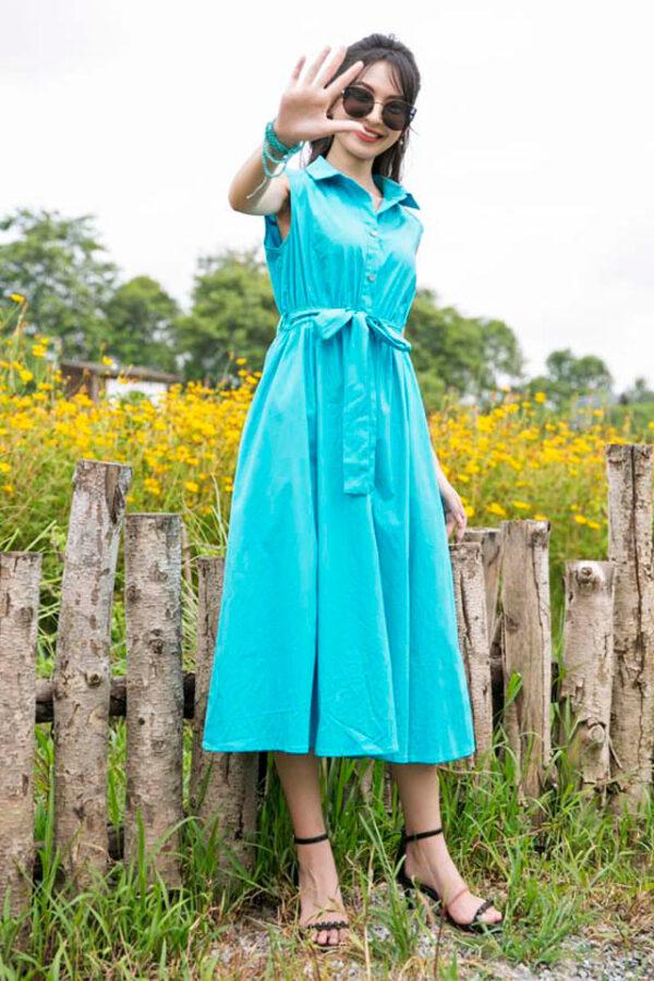 Váy đầm midi cổ sơ mi chun eo Turquoise 8