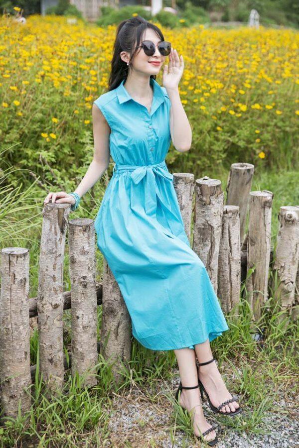 Váy đầm midi cổ sơ mi chun eo Turquoise 7
