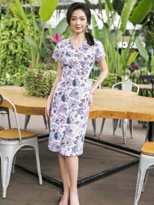 Váy đầm cổ tim can eo White Floral 1