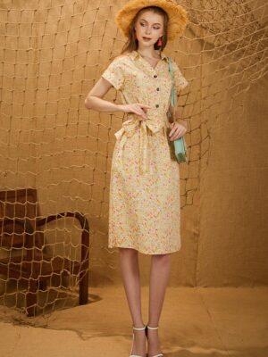 Váy đầm cổ đức bổ trụ Yellow Floral 9