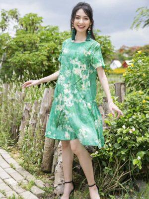Váy đầm hoa dúm thân váy Green Floral 2