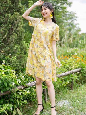 Váy đầm hoa dúm thân váy Yellow Floral 9