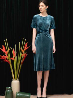 Váy đầm nhung buộc nơ eo Blue 9
