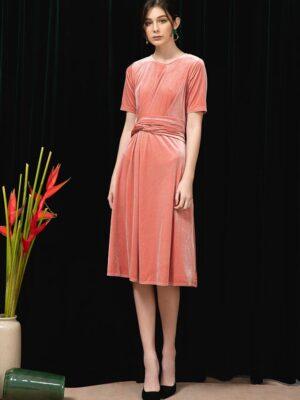 Váy đầm nhung buộc nơ eo Rose 6