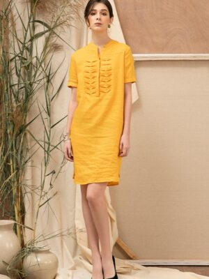 Váy đầm cổ tàu trần ngực Yellow 5