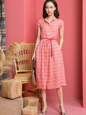 Váy đầm sơ mi cổ đức tròn xếp ly chân váy Red Floral 7