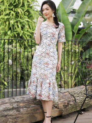 Váy đầm body đuôi cá Beige Floral