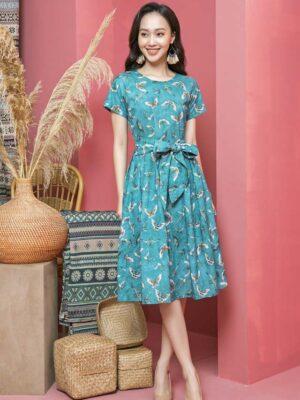 Váy đầm xếp ly chân váy, đai liền Petrol Floral 1