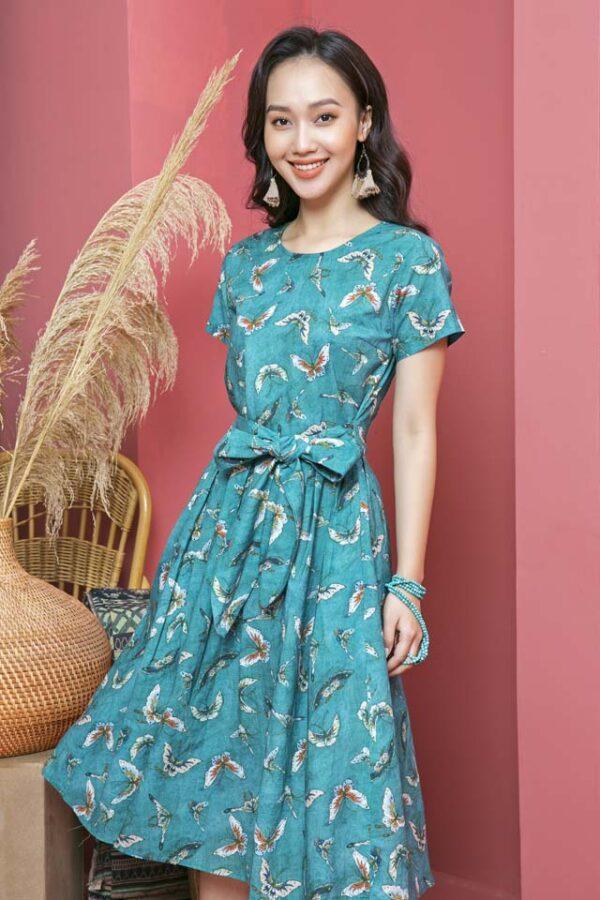 Váy đầm xếp ly chân váy, đai liền Petrol Floral 2