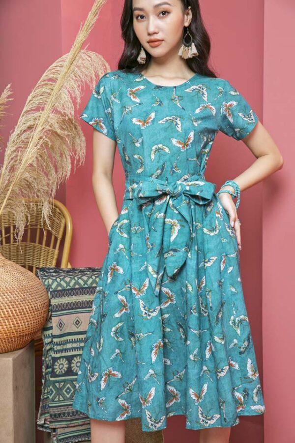 Váy đầm xếp ly chân váy, đai liền Petrol Floral 3