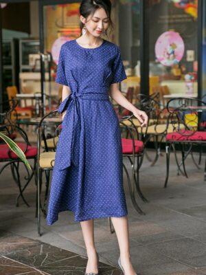 Váy đầm midi nơ trang trí eo Navy 9
