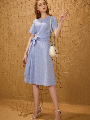 Váy đầm midi nơ trang trí eo Sky 7