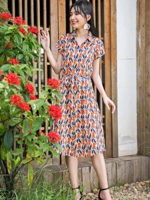 Váy đầm sơ mi xếp ly chân váy Orange Floral 9