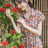 Váy đầm sơ mi xếp ly chân váy Orange Floral 8