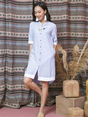 Váy đầm sơ mi phối màu Blue Stripe 9