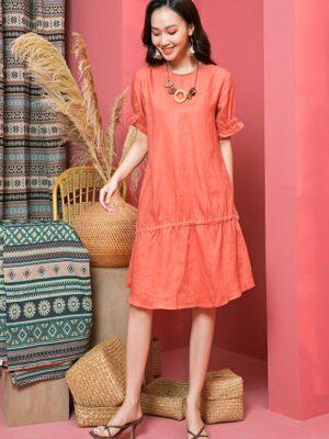 Váy đầm rút chun ở tay Orange 9