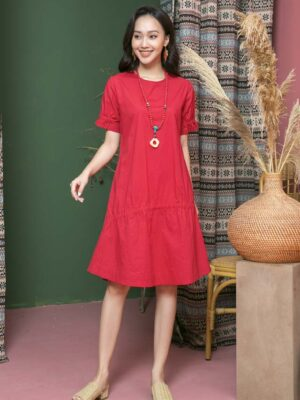 Váy đầm rút chun ở tay Red 1