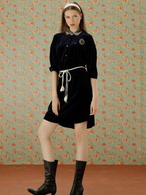 Váy đầm nhung phối cổ ghi Navy 1