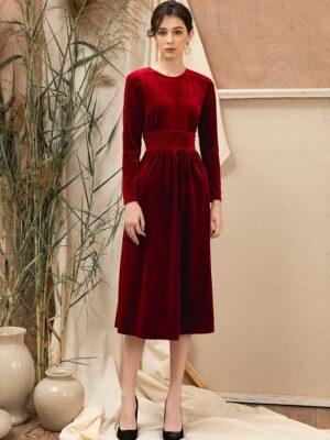 Váy đầm nhung dài tay diễu chỉ eo Red 8