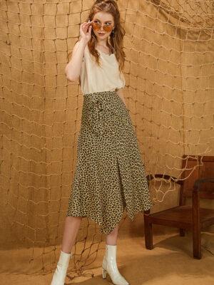 Chân váy đai sừng họa tiết da báo Brown 4
