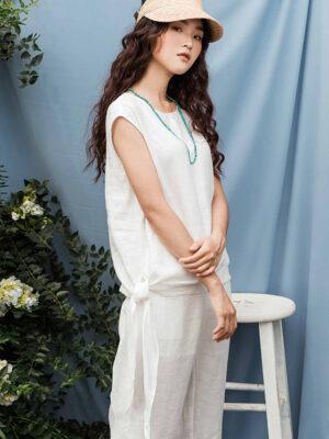 Áo kiểu nữ buộc nơ White 3