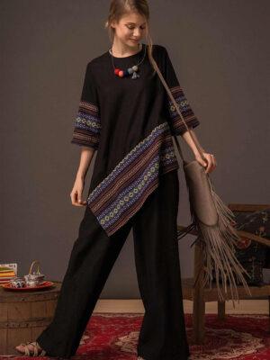 Áo nữ vạt chéo phối thổ cẩm Black 3