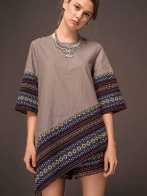 Áo nữ vạt chéo phối thổ cẩm Grey 4