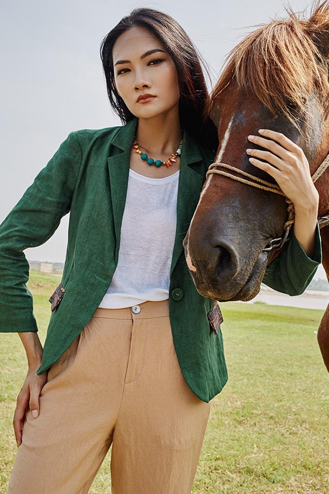 Áo blazer túi phối thổ cẩm Green 1