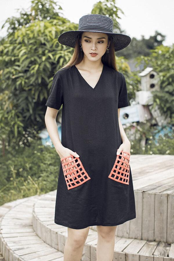 Váy đâm túi đan Black 1