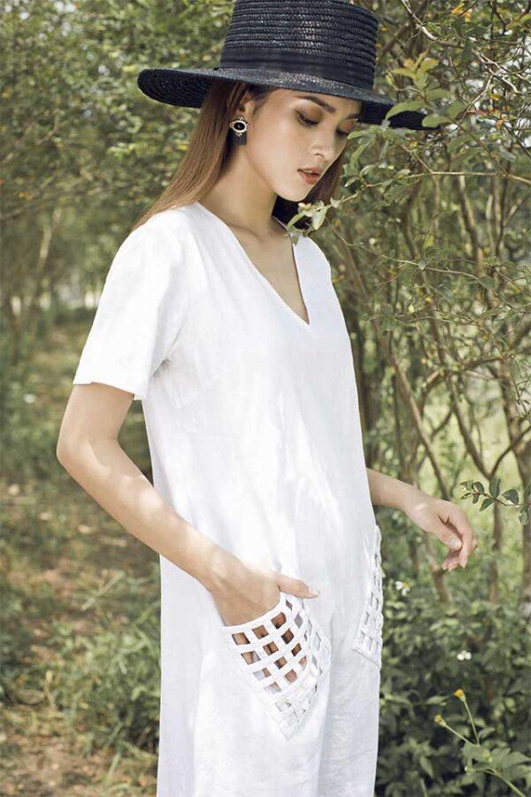 Váy đâm túi đan White 2