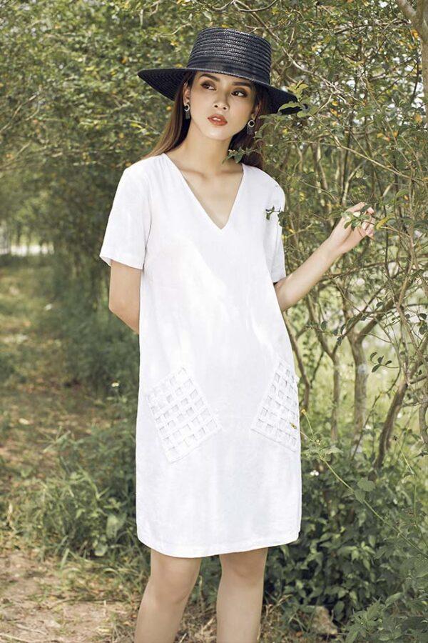Váy đầm túi đan White