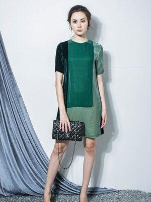 Váy đầm nhung phối 3 màu Green 1