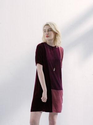 Váy đầm nhung phối 3 màu Ruby