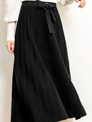Chân váy len kèm đai Black