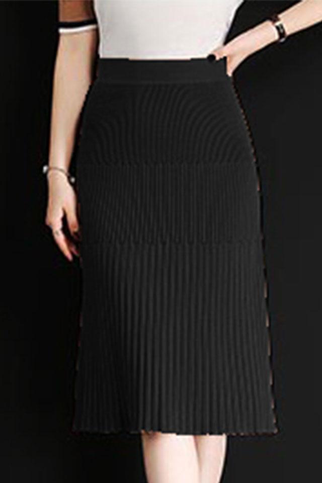 Chân váy len dáng ôm Black