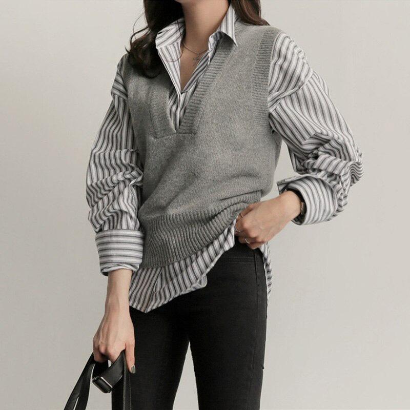 Một chút biến tấu với áo len gile kết hợp cùng sơ mi cho bạn nét khỏe khoắn, năng động